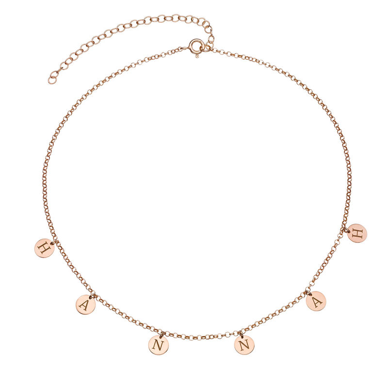 Initials Choker Necklace in Rose Gold Plating - 1