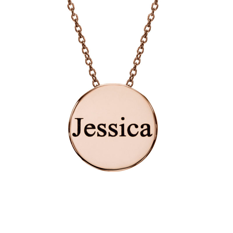 Custom Thick Disc Necklace in Rose Gold Plating