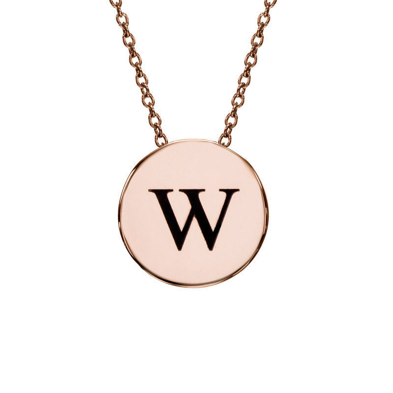 Initial Thick Disc Necklace in Rose Gold Plating