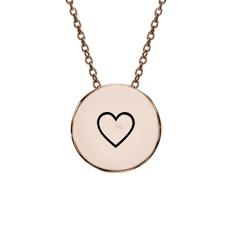 Initial Thick Disc Necklace in Rose Gold Plating - 1