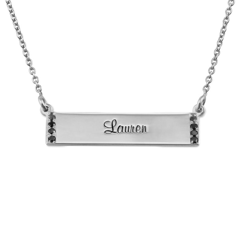 Engraved Bar Necklace with Diamond in Sterling Silver