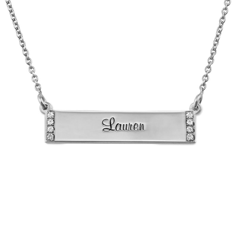 Engraved Bar Necklace with Diamond in Sterling Silver - 1