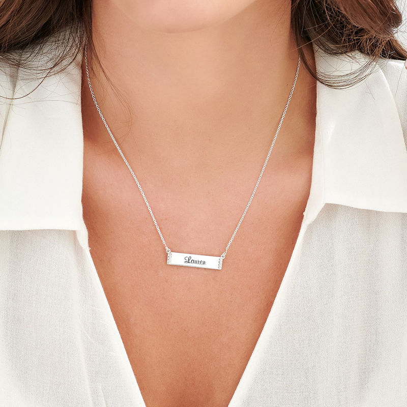 Engraved Bar Necklace with Diamond in Sterling Silver - 2