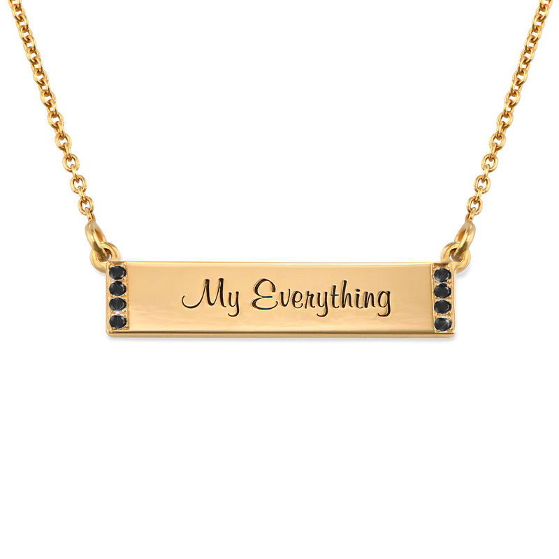 Engraved Bar Necklace with Diamond in Gold Plating - 1