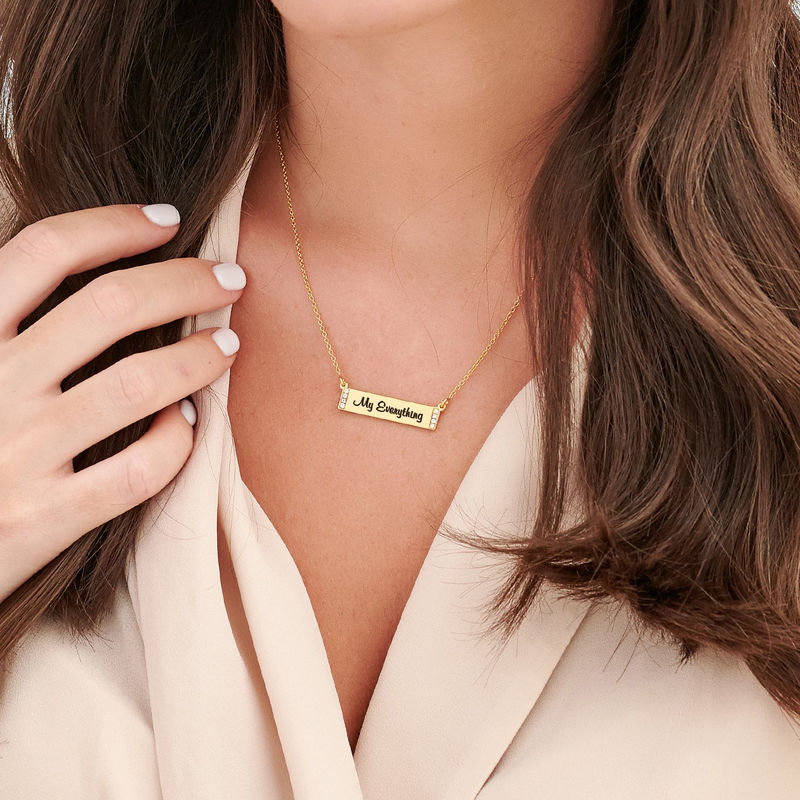 Engraved Bar Necklace with Diamond in Gold Plating - 2