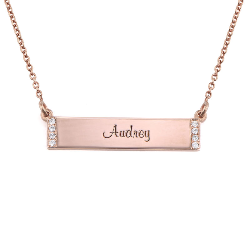 Engraved Bar Necklace with Diamond in Rose Gold Plating