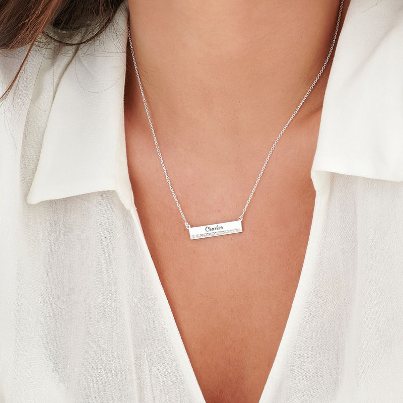 Engraved Pave Bar Necklace with Diamonds in Sterling Silver - 2