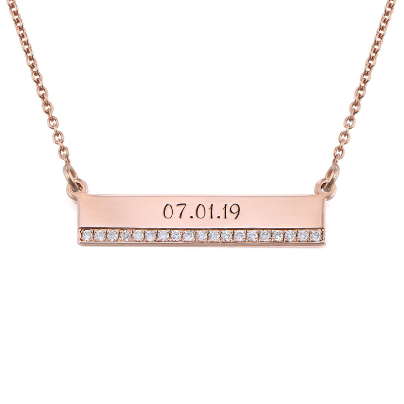 Engraved Pave Bar Necklace with Diamonds in Rose Gold Plating