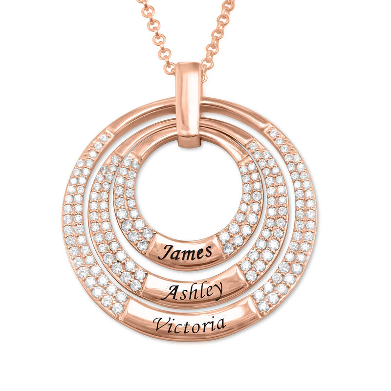 Engraved Circle Necklace for Mom in Rose Gold Plating
