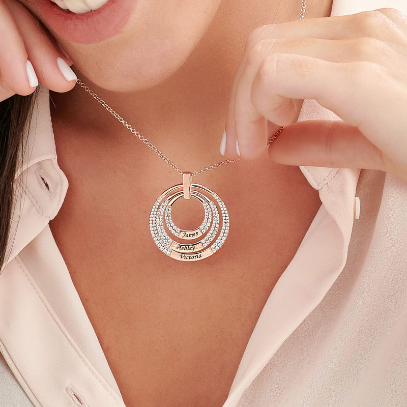 Engraved Circle Necklace for Mom in Rose Gold Plating - 2