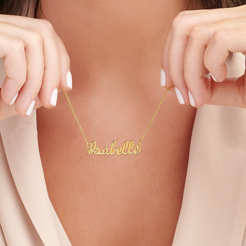 Custom Wire Name Necklace in Gold Plating - 2