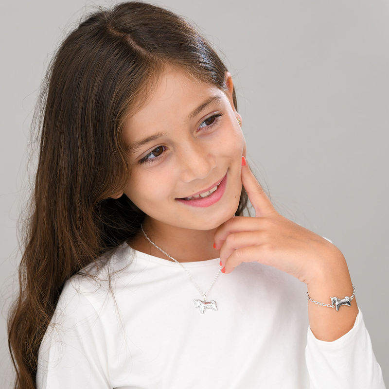Unicorn Necklace for Girls in Sterling Silver with Cubic Zirconia - 4