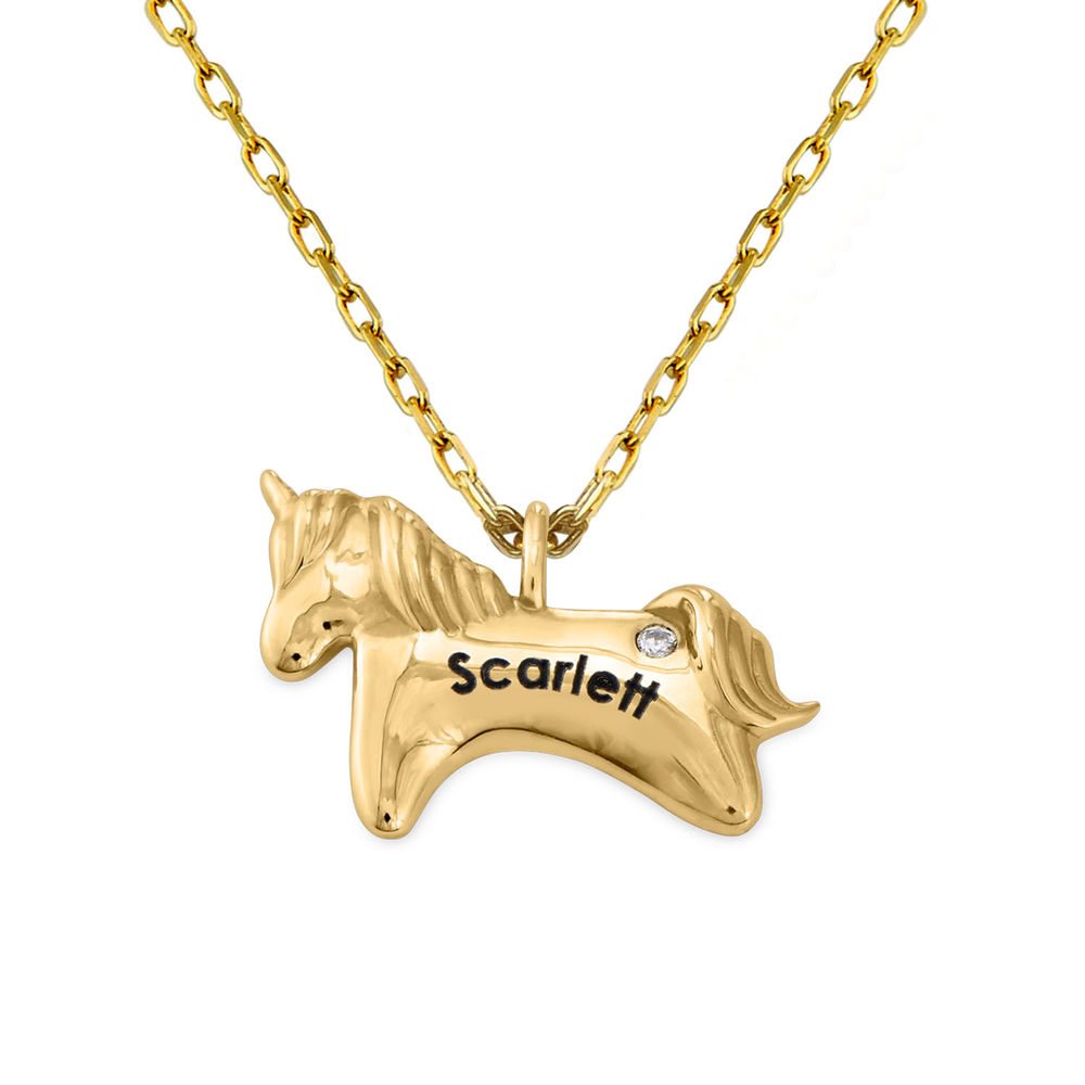 Unicorn Necklace for Girls in 10k Yellow Gold with Cubic Zirconia