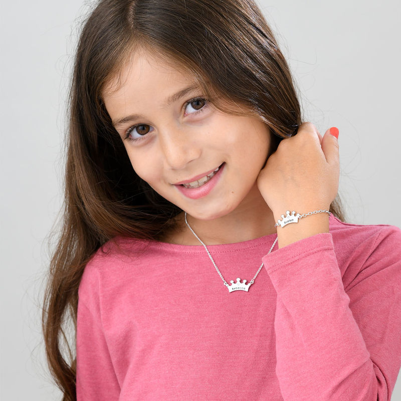 Princess Crown Necklace for Girls with Cubic Zirconia - 3