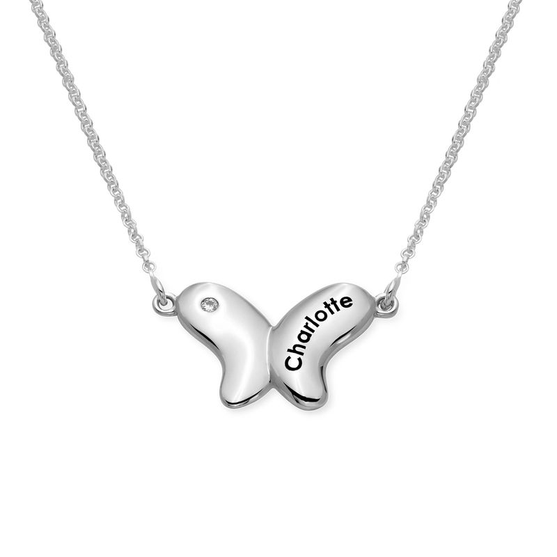 Sterling Silver Butterfly Necklace for Girls with Cubic Zirconia