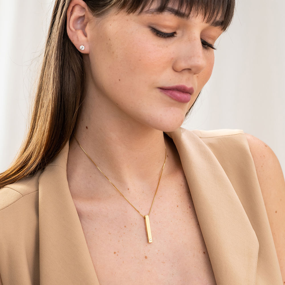 Vertical 3D Bar Necklace in Gold Plating with Cubic Zirconia - 3