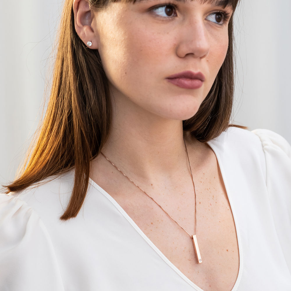 Vertical 3D Bar Necklace in Rose Gold Plating with a Diamond - 2