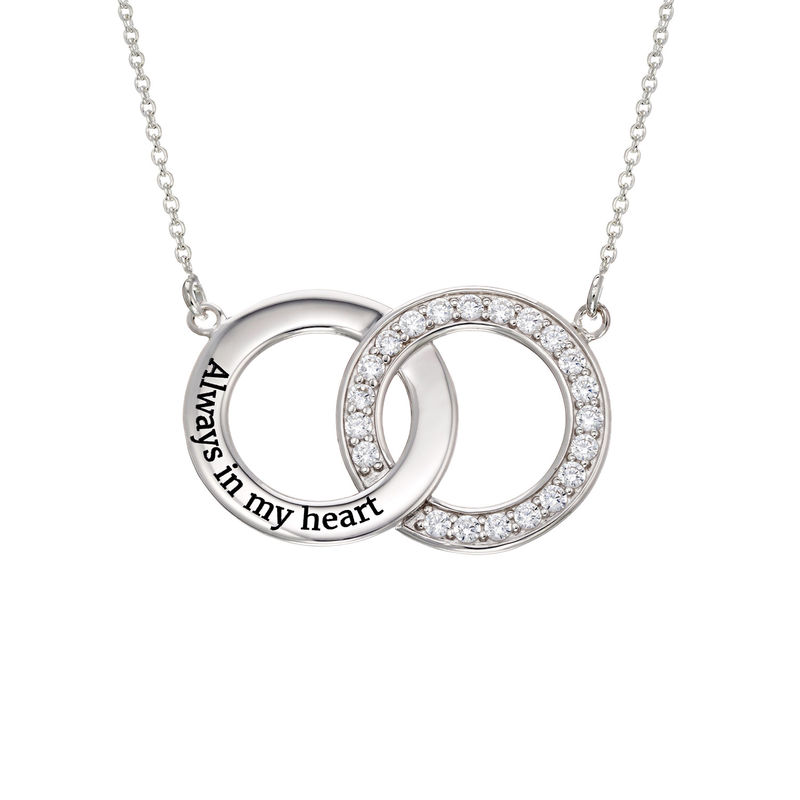 Cubic Zirconia Interlocking Circles Necklace in Sterling Silver - 1
