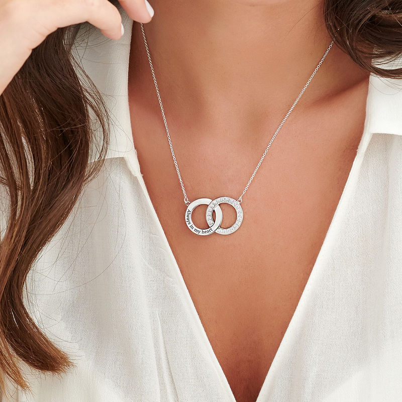 Cubic Zirconia Interlocking Circles Necklace in Sterling Silver - 4