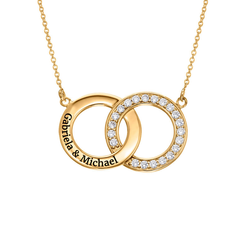 Cubic Zirconia Interlocking Circles Necklace in Gold Plating