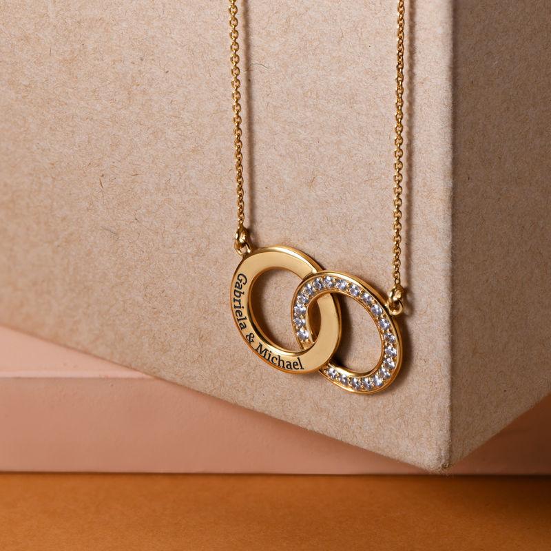 Cubic Zirconia Interlocking Circles Necklace in Gold Plating - 1