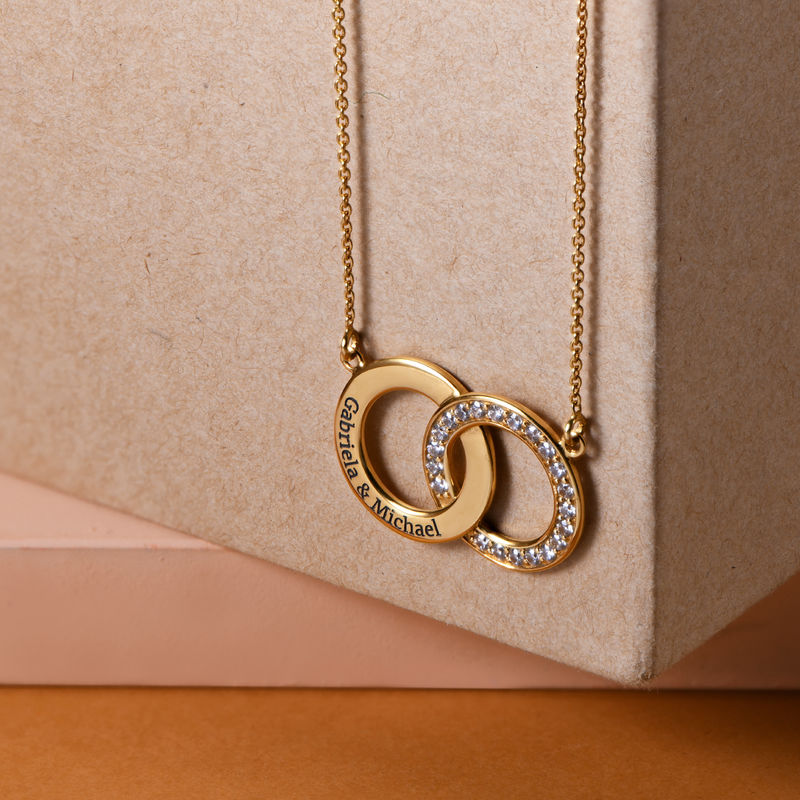 Cubic Zirconia Interlocking Circle Necklaces in 18k Gold Vermeil - 1