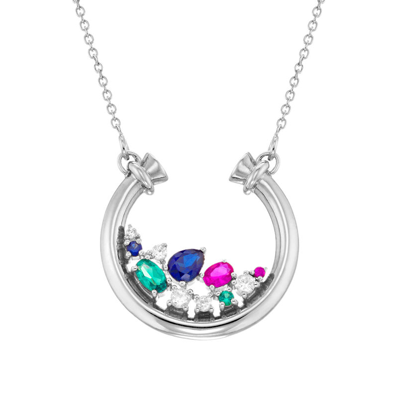 Half Circle Pendant Necklace with Stones in Sterling Silver