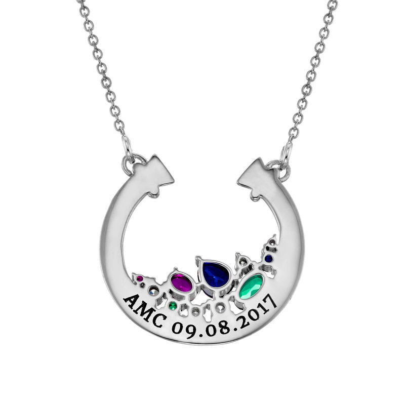 Half Circle Pendant Necklace with Stones in Sterling Silver - 1