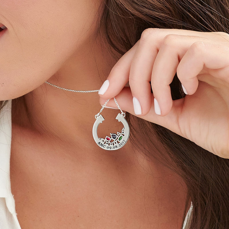 Half Circle Pendant Necklace with Stones in Sterling Silver - 4