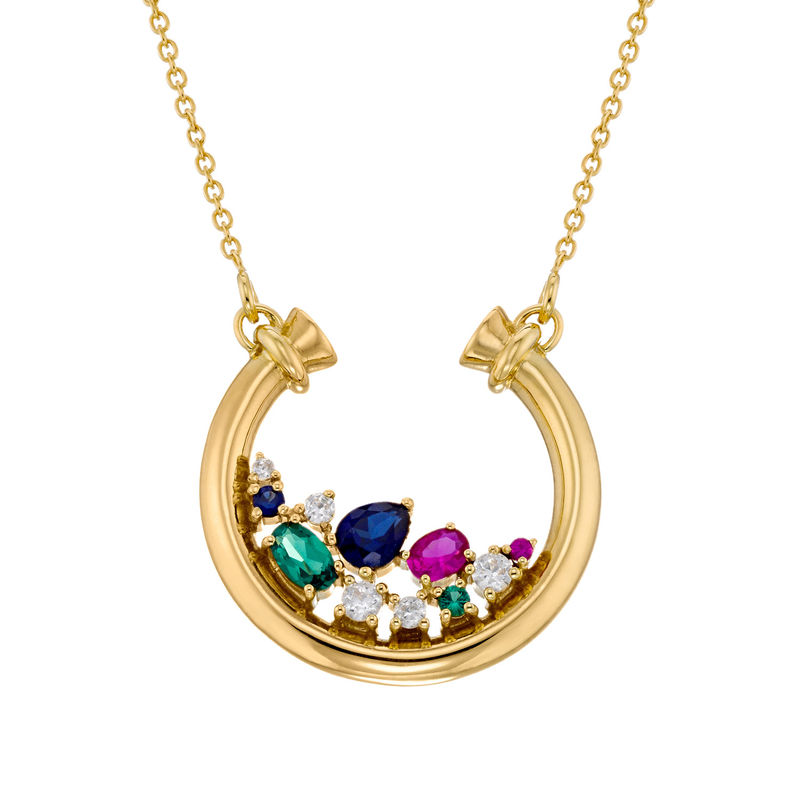 Half Circle Pendant Necklace with Stones in Gold Plating