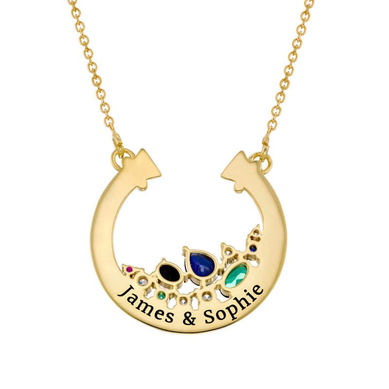 Half Circle Pendant Necklace with Stones in Gold Plating - 1