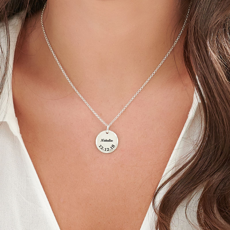Hammered Edge Disc Necklace in Sterling Silver - 4