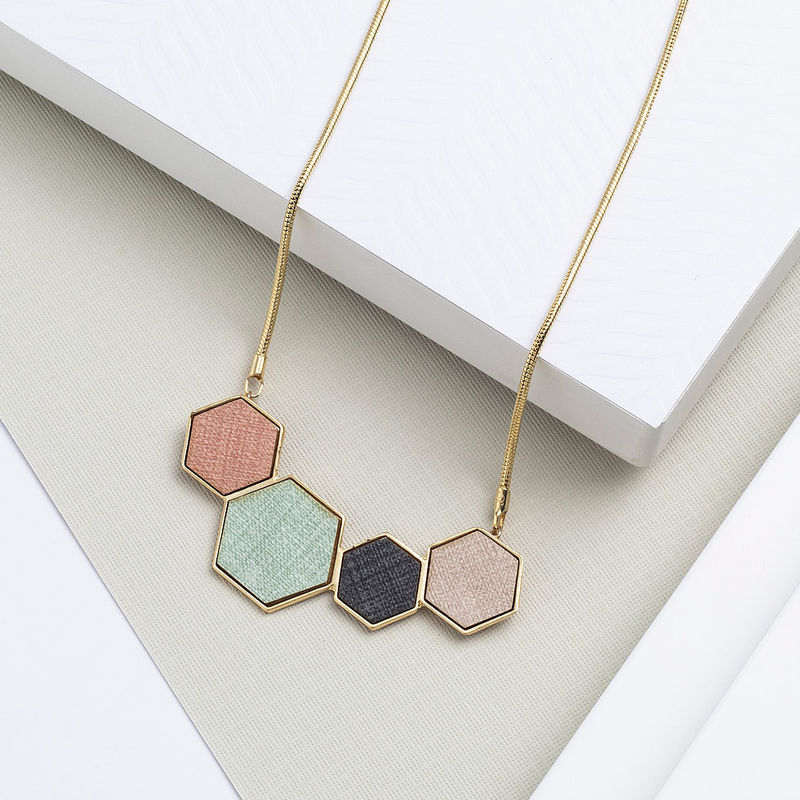 Rainbow Hexagons Necklace