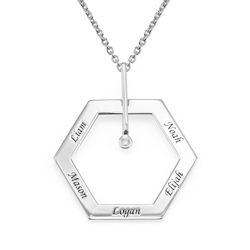 Personalized Engraved Hexagon Necklace in Sterling Silver with Diamond