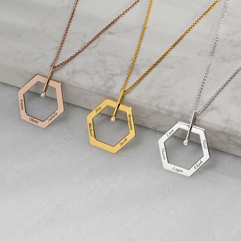 Personalized Engraved Hexagon Necklace in Sterling Silver with Diamond - 1