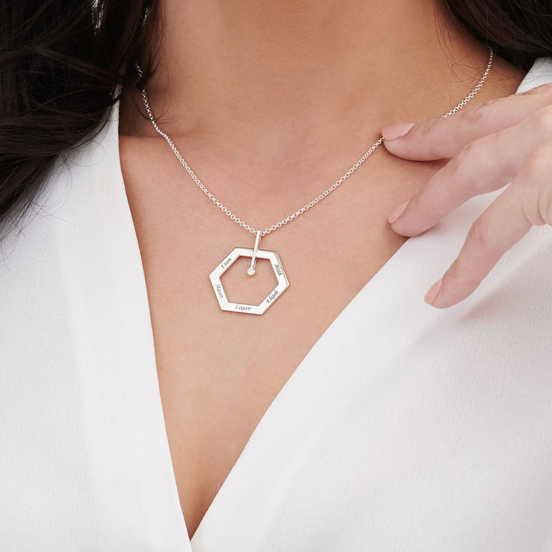 Personalized Engraved Hexagon Necklace in Sterling Silver with Diamond - 3