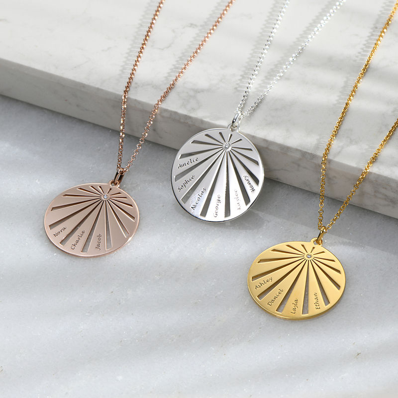 Engraved Circle Family Necklace with Diamond in Gold Plating - 1