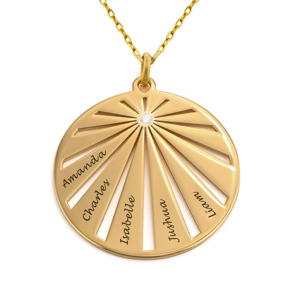 Engraved Circle Family Necklace with Diamond in 10k Gold