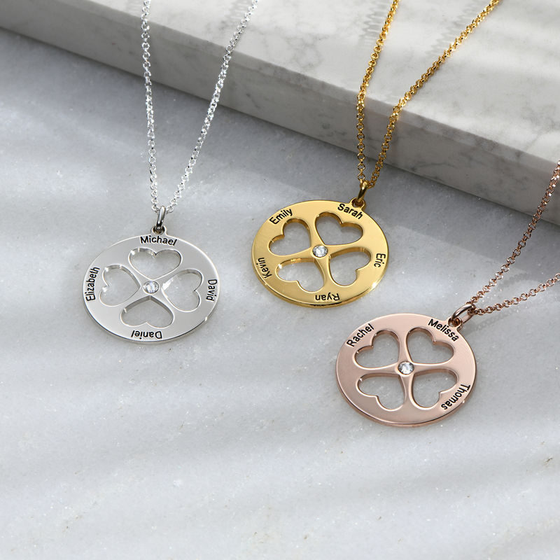 Four Leaf Clover Heart in Circle Pendant Necklace in Silver - 1