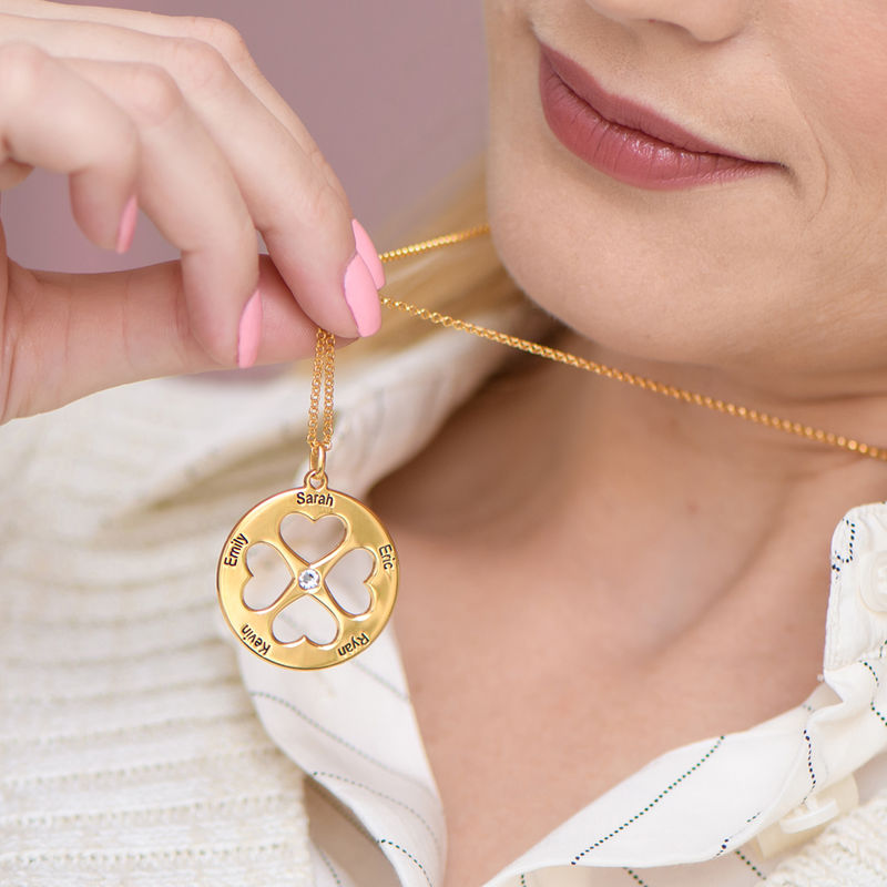 Four Leaf Clover Heart Necklace in Gold Plating - 2