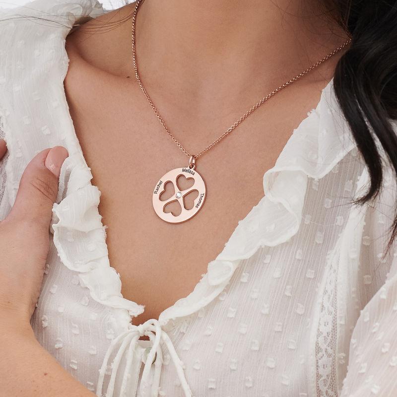 Four Leaf Clover Heart Necklace in Rose Gold Plating - 3
