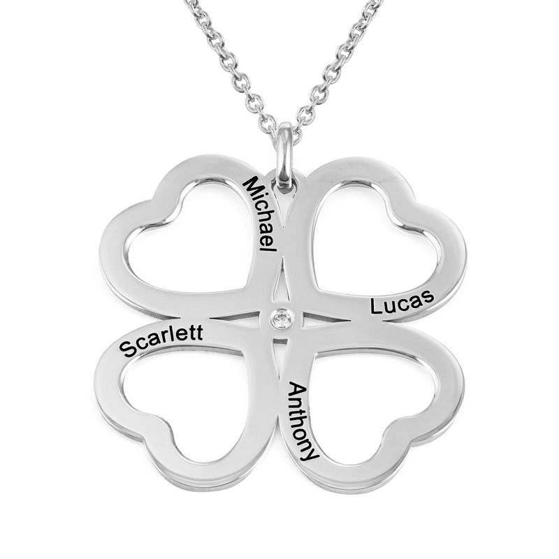 Four Leaf Clover Heart Necklace with Diamond in Silver