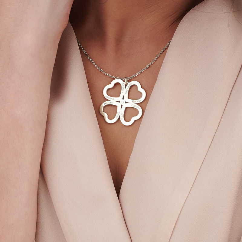 Four Leaf Clover Heart Necklace with Diamond in Silver - 3