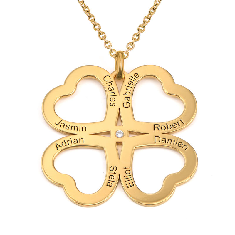 Four Leaf Clover Heart Necklace with Diamond in Gold Plating