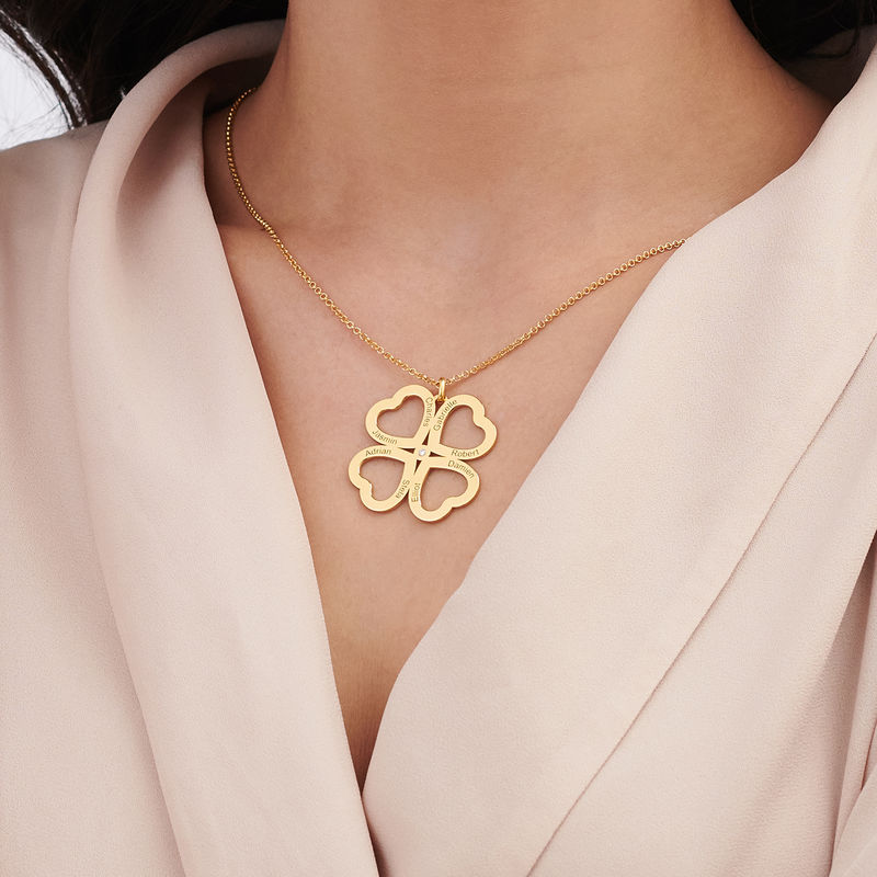 Four Leaf Clover Heart Necklace with Diamond in Gold Plating - 3