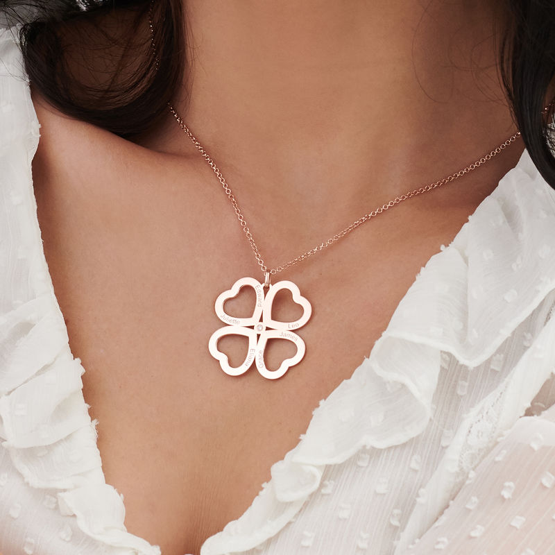 Four Leaf Clover Heart Necklace with Diamond in Rose Gold Plating - 3