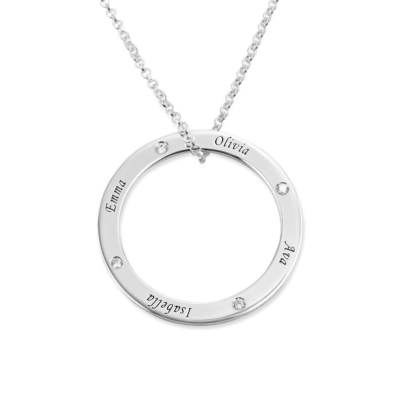 Personalized Ring Family Necklace with Diamonds in Sterling Silver