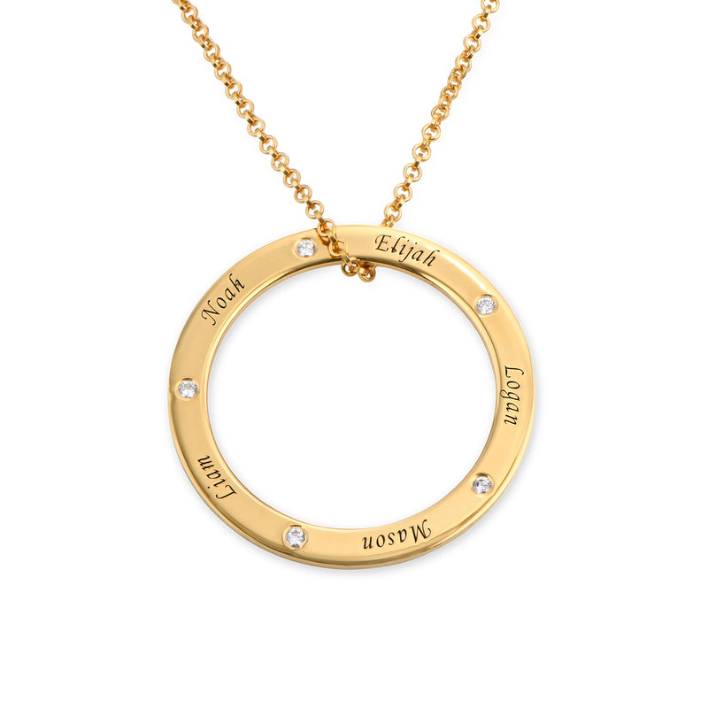 Personalized Ring Family Necklace with Diamonds in Gold Plating