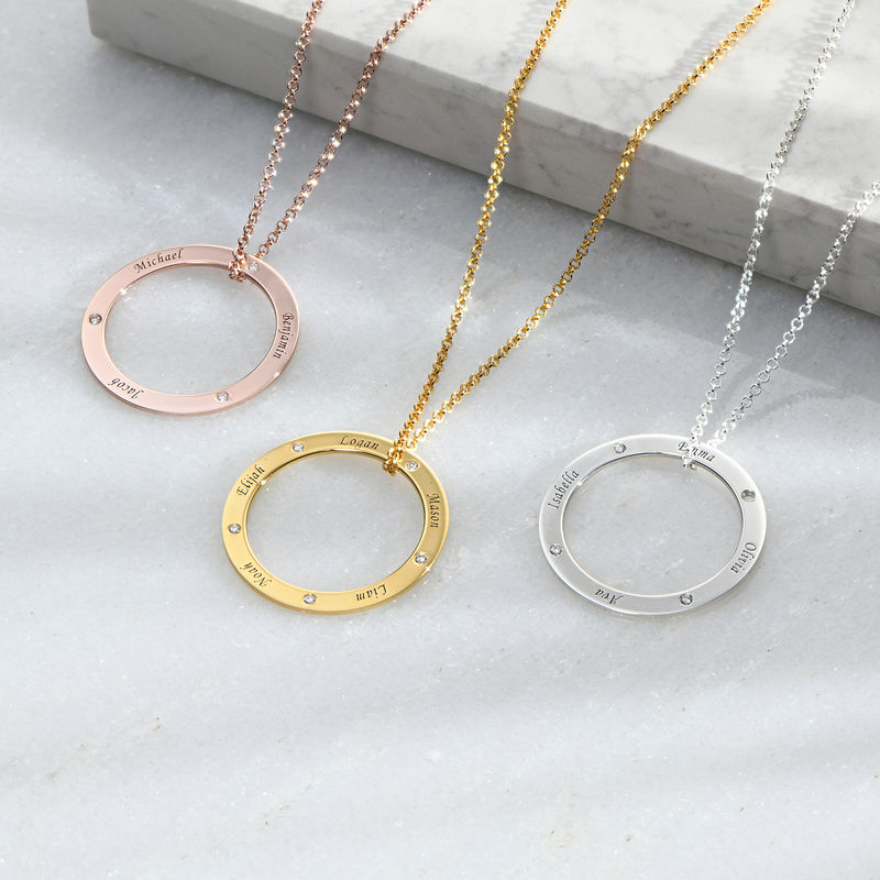 Personalized Ring Family Necklace with Diamonds in Rose Gold Plating - 1