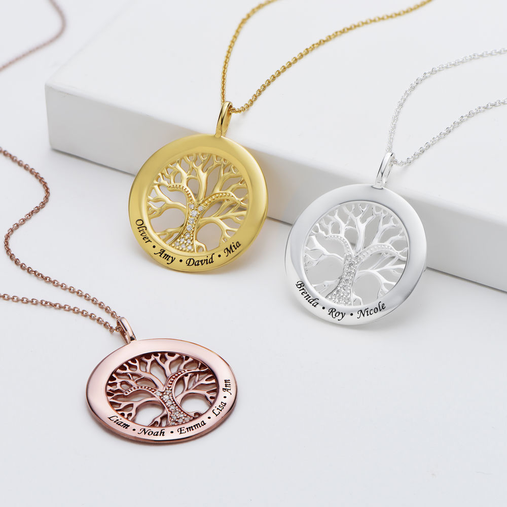 Family Tree Circle Necklace with Cubic Zirconia in Gold Plating - 1